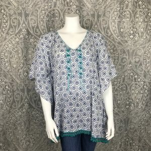 Roberta Roller Rabbit One Size Pom Pom Caftan Top
